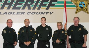 From left, Sheriff Manfre, Bernie Woodward, Laura Pazarena, Jen Taylor and Undersheriff Rick Staly. (FCSO)