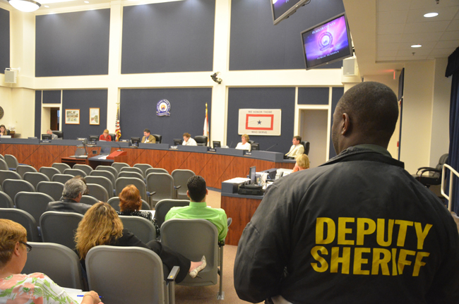 The Flagler County School Board this evening had security, too. (c FlaglerLive)