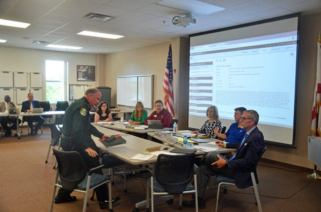 Sheriff Rick Staly sat down for what turned into more of a grilling than he had expected at today's workshop of the Flagler County School Board. (© FlaglerLive)