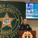 Sheriff Rick Staly during his 'Addressing Crime Together' presentation today. (© FlaglerLive via Facebook)