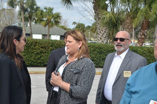 Palm Coast City Council members Heidi Shipley, center, and Steven Nobile, right, had previously seen their efforts for a charter review scuttled by inaction. This time, they're getting a more receptive ear, including from Mayor Milissa Holland, left, though the process will still be controlled by the council at every step. (© FlaglerLive)
