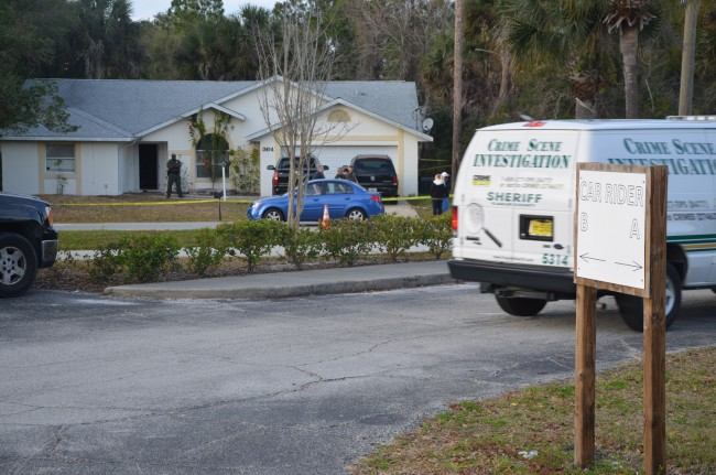 The Flagler County Sheriff's Crime Scene Investigation unit arrives at the scene of Tuesday afternoon's shooting in a house across the street from the Wadsworth Elementary School parking lot. Click on the image for larger view. (c FlaglerLive)