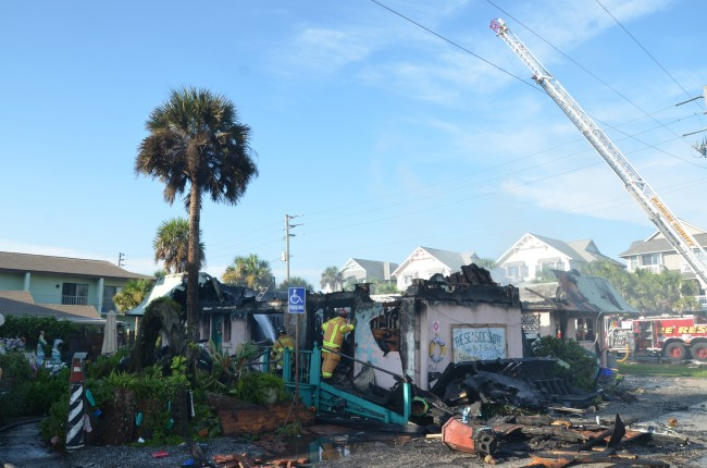 The 3,000 square foot building, for two decades a presence on Flagler Beach's South 6th Street and South Central, was termed a total loss. Click on the image for larger view. (c FlaglerLive)