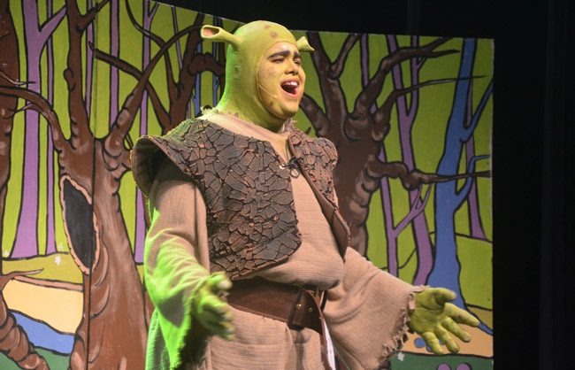 Rafael Soto is Shrek in Matanzas High School's stage production of 'Shrek: the Musical,' opening this evening for a four-day engagement at Pirates Theater at Matanzas. See below for details and tickets. (© FlaglerLive)