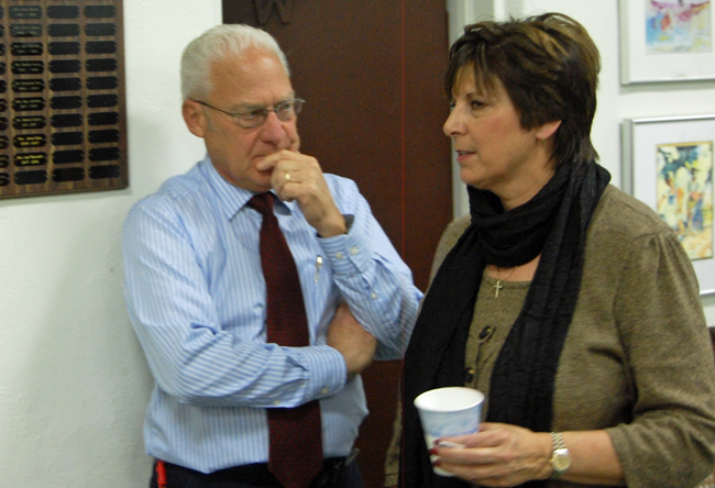 They won't have to do it this year: Marshall Shupe and Kim Carney, seen here at a candidate forum three years ago, were re-elected without opposition to their second term today. (© FlaglerLive)