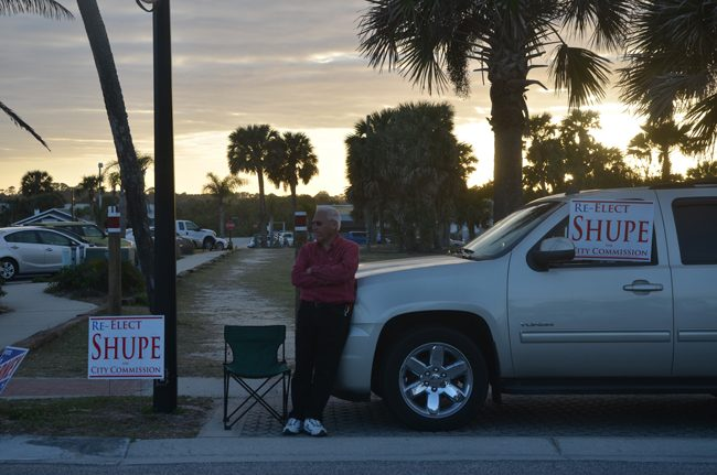 No sunset for Marshall Shupe just yet: The Flagler County Commissioner was re-elected, with the most votes in the city, to his third straight term on Tuesday. He will be re-sworn-in this evening, along with Commissioner Kim Carney, who also won her third term. Six years ago she had been the top vote-getter in the city. (c FlaglerLive)