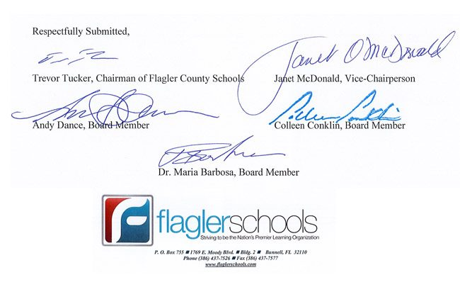 flagler county school board signatures
