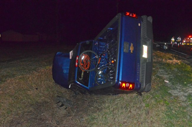 The Silverado ended up in the ditch. It had been driving east. It ended facing west. Click on the image for larger view. (© FlaglerLive)