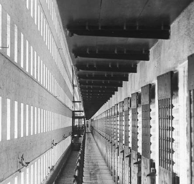 Interior view down a corridor at Sing Sing Prison, 1900-1910 or so. (New York State Archives)
