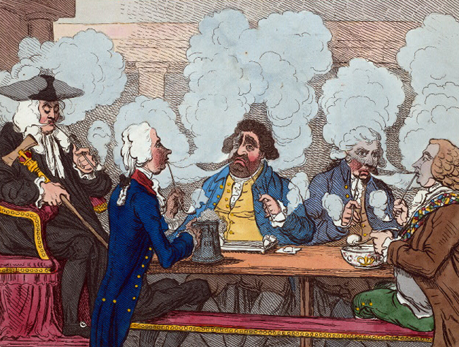 This is not CNN. 'A Smoking Club' (1793), from the New York Public Library collection.