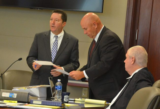 Snelgrove's attorneys: Michael Nielsen, left, and Jeff Stone. (© FlaglerLive)