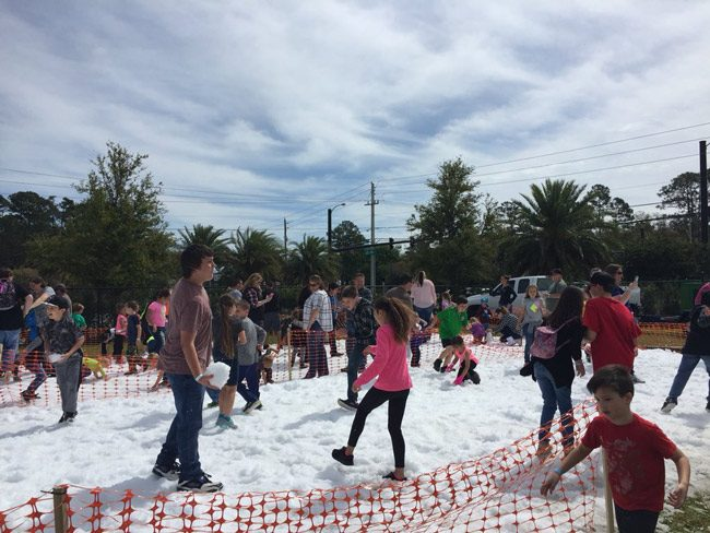 There was snow in Palm Coast this weekend--at least on Flagler Palm Coast High School's campus, as FPC Principal Dusty Sims tweeted with the image above, part of Snowfest, a one-day festival intended to benefit the Flagler Education Foundation.