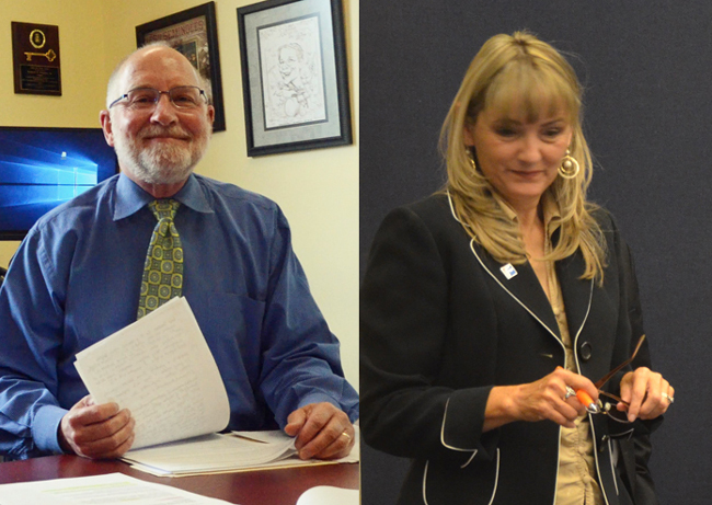 Robert Snyder, left, heads the Flagler Health Department. Maria Barbosa was elected to the Flagler County School Board in 2016. (© FlaglerLive)