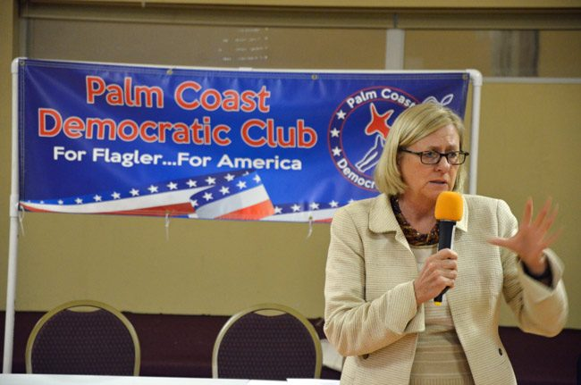 Nancy Soderberg in an appearance before the Palm Coast Democratic Club last November. (© FlaglerLive)