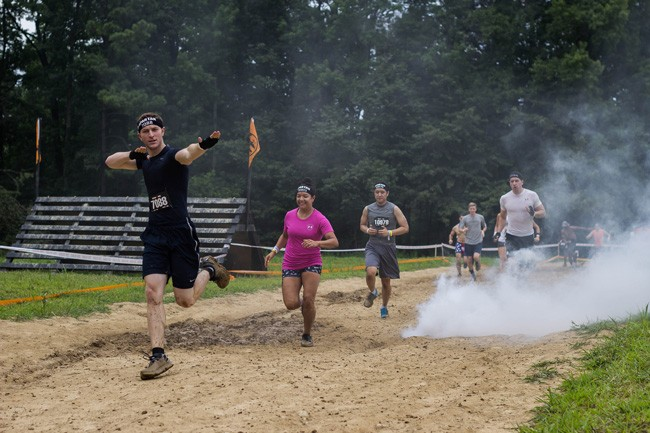 Spartan racers go through man-made obstacles that upend the landscape to challenge racers' endurance.