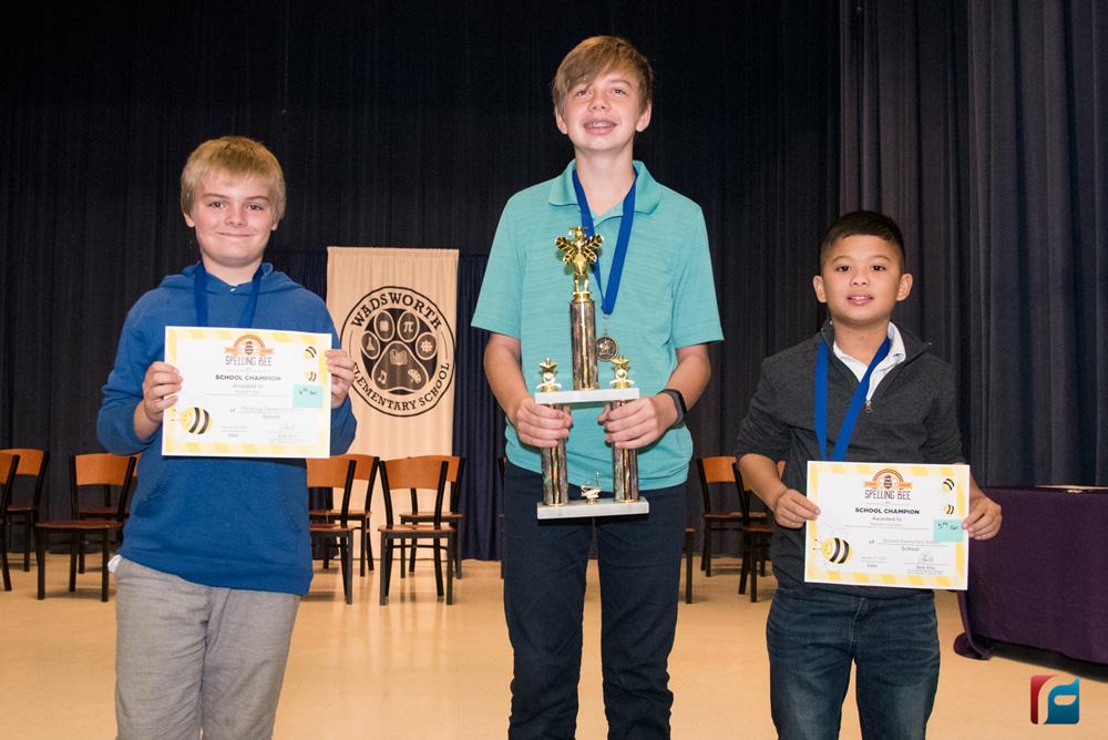 Flagler County's 2020 Spelling Bee winners: Robert Yost (left), Caleb Rimpel (center), Xander Lascano (right)