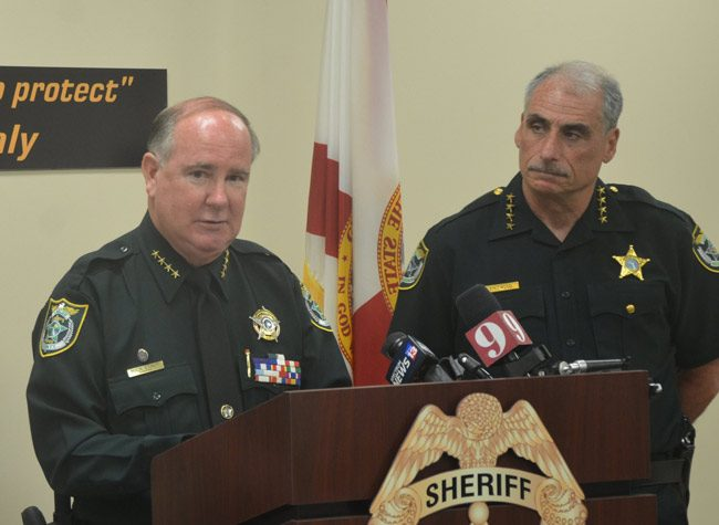 Sheriff Rick Staly, left, has at times sounded the tough-cop vernacular as Volusia County Sheriff Mike Chitwood, who since his days as Daytona Beach's police chief rarely hesitated to speak as judge and jury of many suspects. (© FlaglerLive)