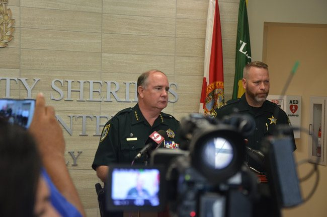 Sheriff Rick Staly, left, and John Creamer, chief deputy of the Volusia County Sheriff's Office, speaking this afternoon about the arrest of Obtravies Watkins, a sex offender facing rape and attempted murder charges, among others. (© FlaglerLive)