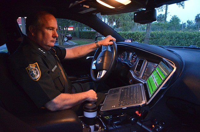After 40 years three police agencies in Central Florida and Flagler County, it came down to Friday's last patrol for Undersheriff Rick Staly, and this, on his screen::L an especially quiet evening, as he studied where to head next after dinner at Bob Evans. (© FlaglerLive)