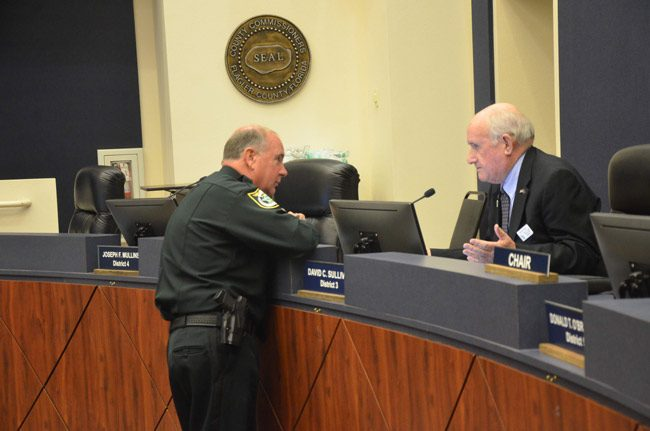 Sheriff Rick Staly and County Commissioner Dave Sullivan, whom the commission delegated to be a point person on matters related to the Sheriff's Operations Center. (© FlaglerLive)