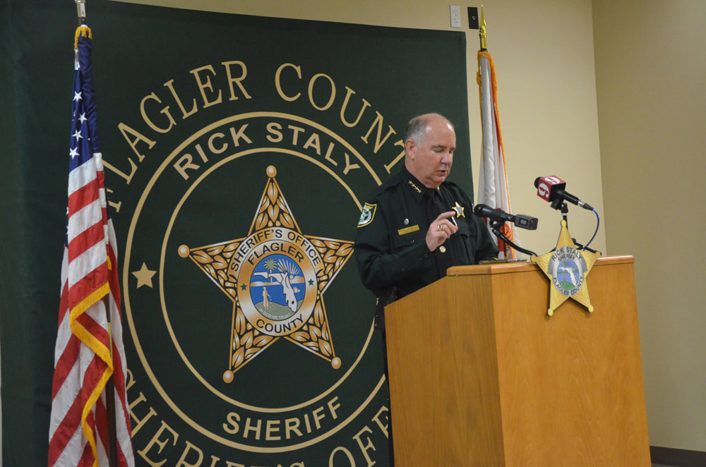 Sheriff Staly at today's news conference said more cases similar to Colon's are about to be prosecuted. (© FlaglerLive)