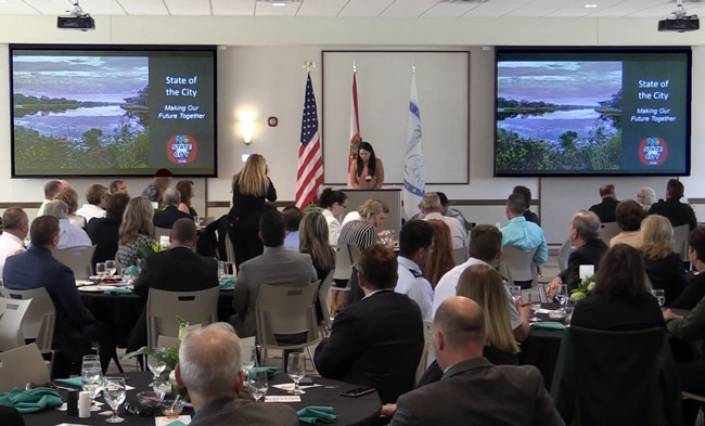 A video still from last year's State of the City Address at the Palm Coast Community Center.