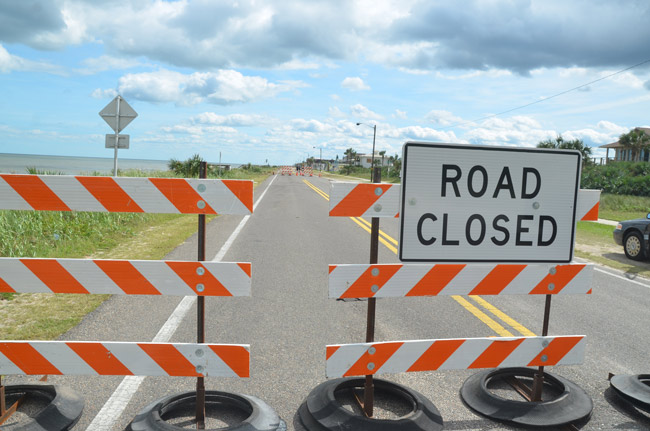 State Road A1A, or Ocean Shore Boulevard, is closed from South 9th Street and South 22nd Street. It will reopen in winter. (© FlaglerLive)