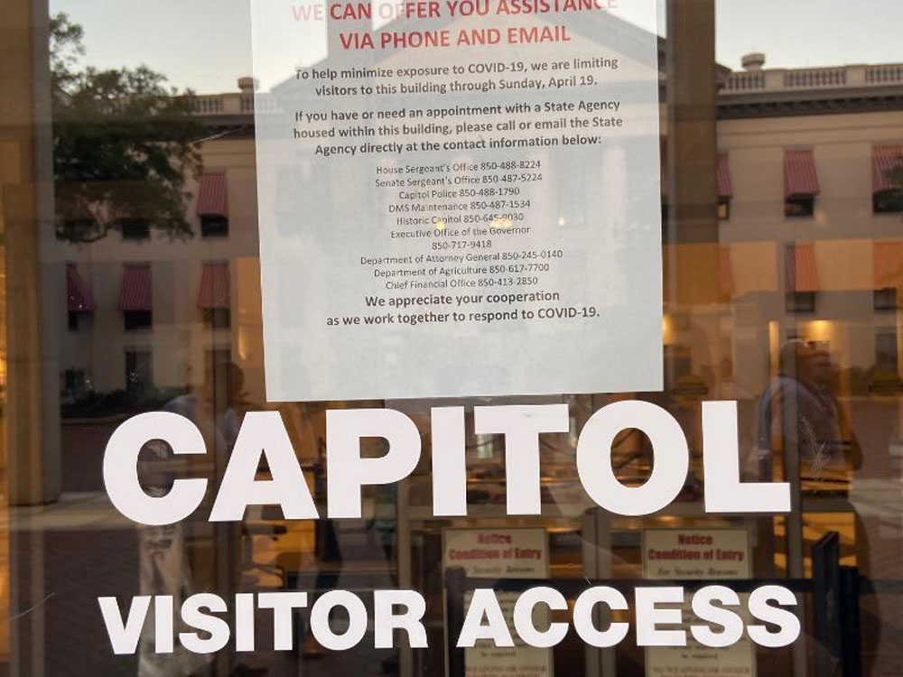 The state Capitol in Tallahassee, like governments across the state, shut down for in-person access. (NSF)