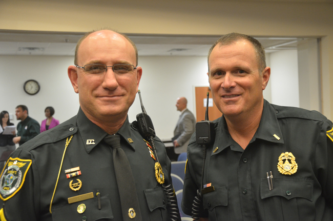 Cpl. Don Apperson, left, remains in charge of day-to-day supervision of the six school resource deputies in Flagler County schools, while Cmdr. Steve Cole will head the sheriff's office investigative division, which also oversees the school cops. (© FlaglerLive)