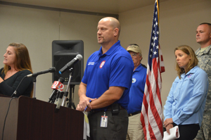 Emergency Services Manager Steve Garten at a news conference this afternoon. (c FlaglerLive)