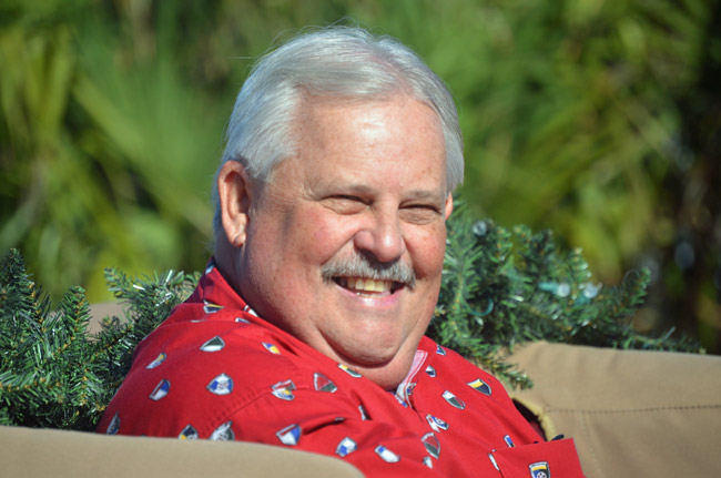 Steve Settle during a recent Christmas parade in Flagler Beach. (© FlaglerLive)