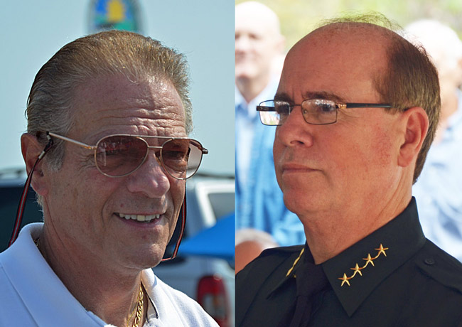 Republican Ray Stevens, left, went on a limb to endorse Jim Manfre in November's election, and now has some misgivings about the sheriff's management style. (© FlaglerLive)