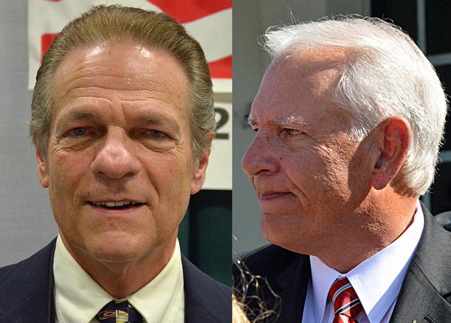 Ray Stevens, left, and John Pollinger, are not BFF. (© FlaglerLive)