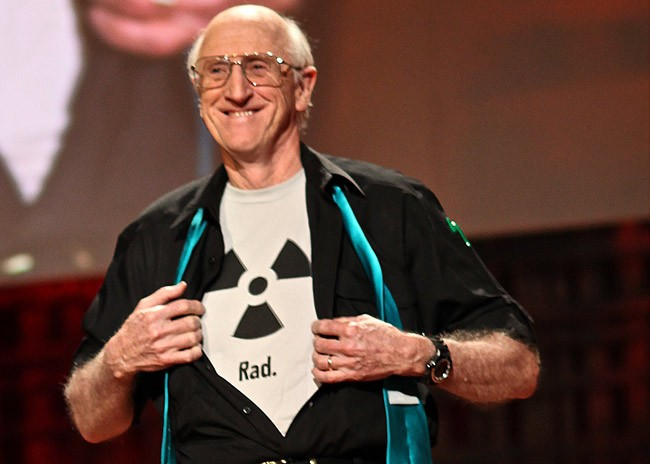 Steward Brand, bearing his chest at the end of a nuclear power debate at a TED event, is among a corps of pro-nuclear environmentalists. (Steve Jurvetson)