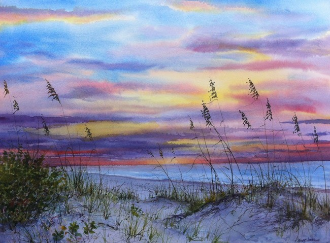 A watercolor by Orlando artist Stewart Jones, following a trip to the Gulf of Mexico north of St. Petersburg. Jones's work is on exhibit at Ocean Art Gallery in Flagler Beach starting with a reception Friday.