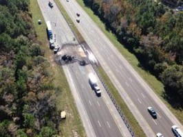 The St. Johns County Sheriff's Air One helicopter crew took that image, showing the extent of the damaged highway around the wreck.
