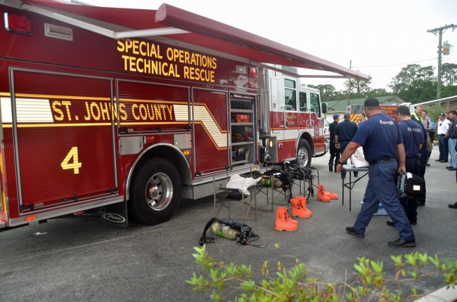The St. Johns County Fire Rescue HazMat team preparing for the handling of the package. (c FlaglerLive)