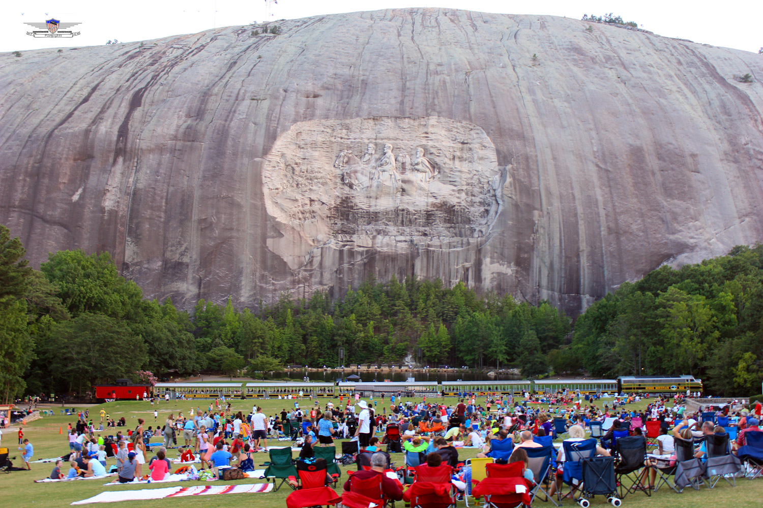 Carved on Stone Mountain, Ga., the horsemen of the Confederacy: Robert E. Lee, Thomas (Stonewall) Jackson and Jefferson Davis. See a detail of the carving below. (Wikimedia Commons)