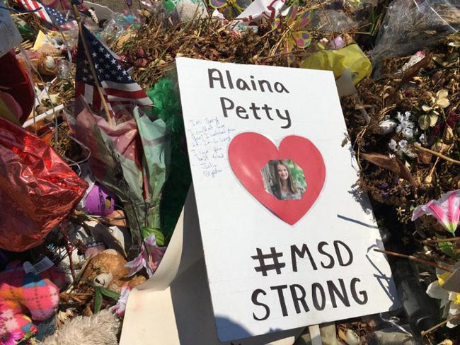 A memorial to students killed in the Marjory Stoneman Douglas massacre last February. (NSF)