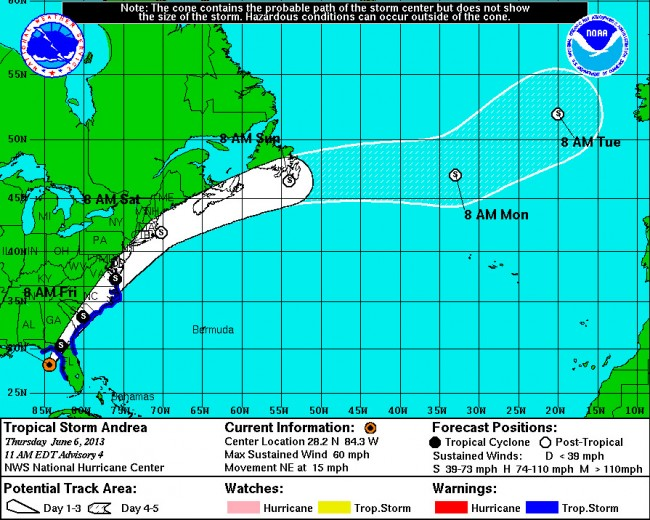 Andrea's projected path as of 11 a.m. Thursday. Click on the image for larger view.