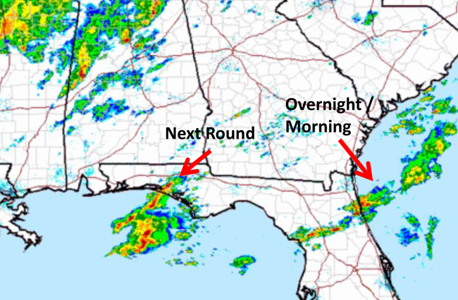 The next round of storms is taking shape. (NWS)