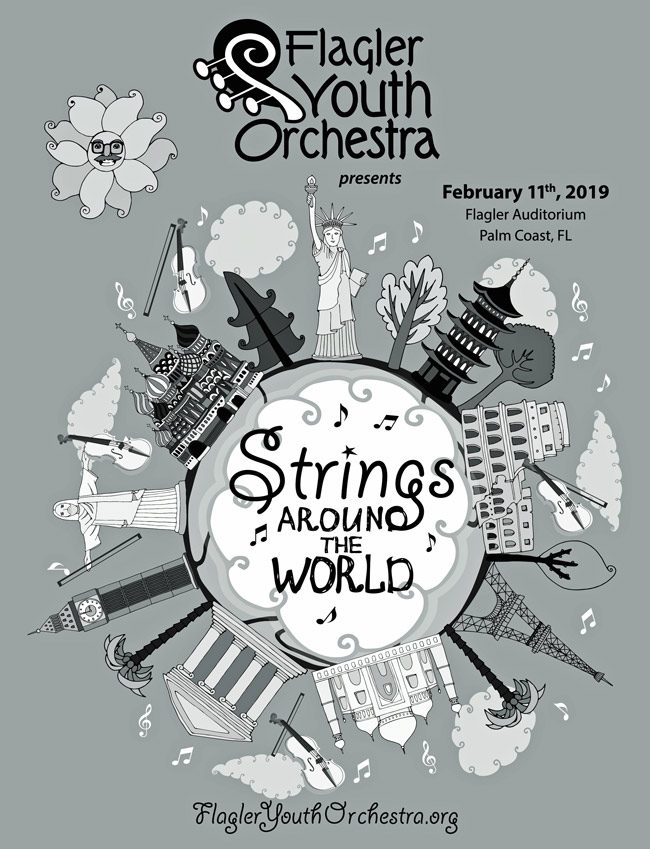 The entire Flagler Youth Orchestra's ensembles--five orchestras in all--perform at the Flagler Auditorium at 7 p.m. for the annual Strings Around the World concert. The orchestras showcase accomplishments ranging from first-year students to the advanced skills of the Harmony Chamber Orchestra. See below for details. The cover of tonight's program, above, was designed by Linda Klayman, who has designed nearly every one of the 38 Auditorium concert-program covers over the past decade and a half.
