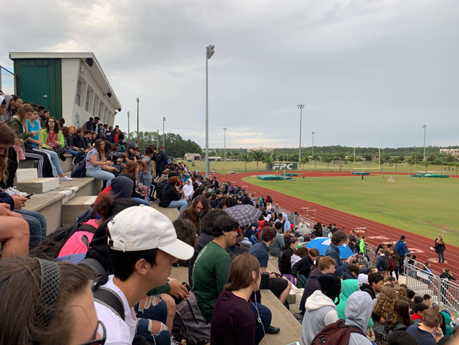The stadium at Flagler Palm Coast High School this morning. (© FlaglerLive)