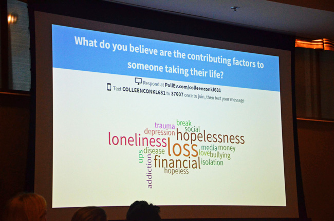 A slide aggregating responses to a question about the cause of suicide from some 150 audience members at last May's town hall on suicide in Palm Coast. (© FlaglerLive)