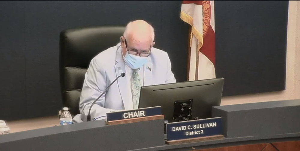 County Commission Chairman Dave Sullivan at today's meeting. He had been pushing for a mask mandate, but settled for a resolution that eschews the word 'mandate' in favor of strongly encouraging residents to wear masks.