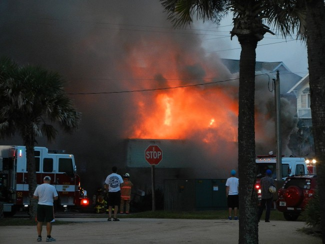 The fire at its height. Click on the image for larger view. (© Sherry Baker for FlaglerLive)
