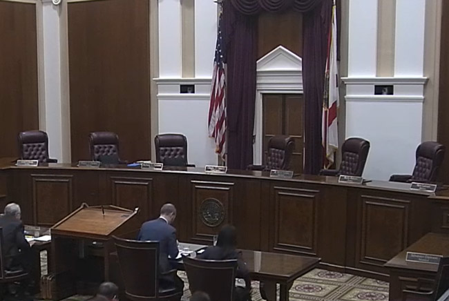The Florida Supreme Court is about to go whiter. (© FlaglerLive via Florida Channel)