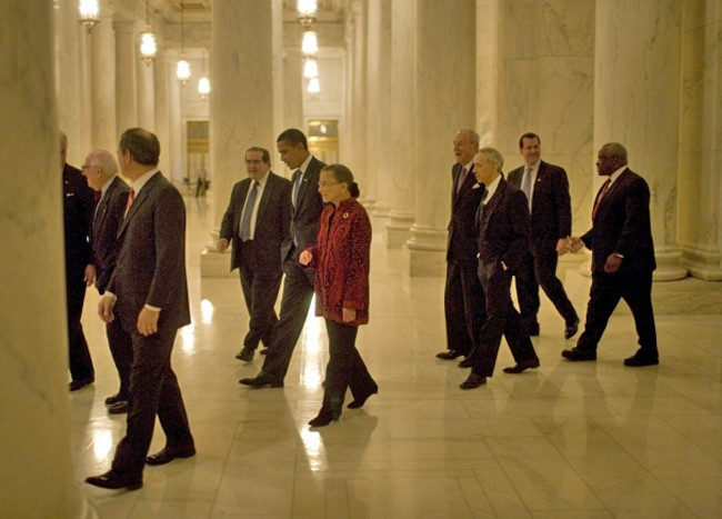 Barack Obama with eight of the nine Supreme Court justices in 2009, just before his inauguration. Justices Souter and Stevens have since been replaced by Justices Sotomayor and Kagan, but the ideological make up of the court hasn't changed since it last reviewed a lethal injection case seven years ago. (White House)