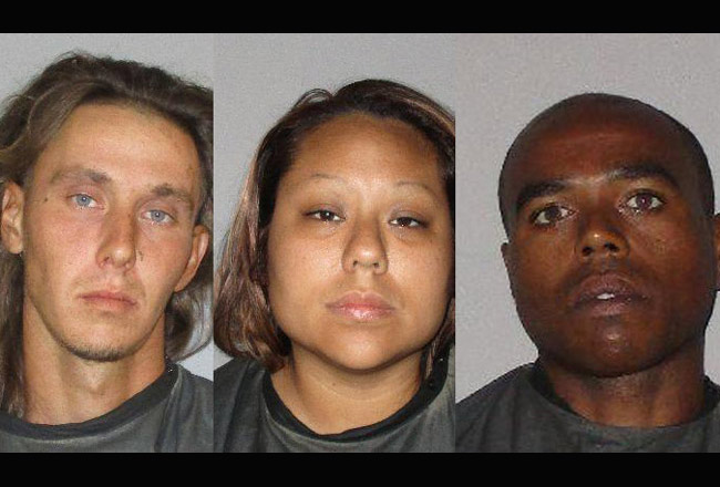 From left, Yuri Krivoshey, Yuumi Obama and Jeremy Toumbs, who were arrested at 17 Port Lane in palm Coast.