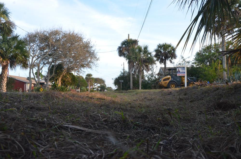 A newly dug swale on South Daytona Avenue. (© FlaglerLive)